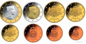Latvijas 1,2 eiro un centu monētas